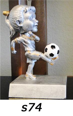 Soccer Bobblehead Trophy, Girls – s74