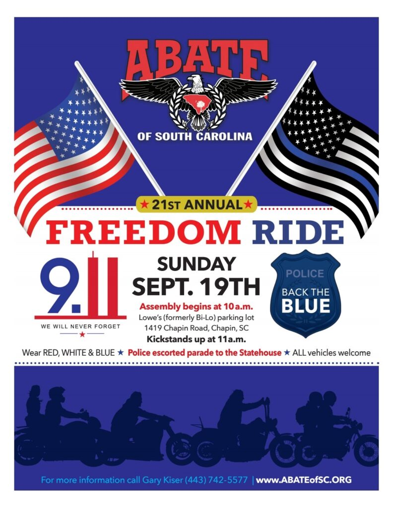 CIA Chapter ABATE of SC – 2021 Freedom Ride