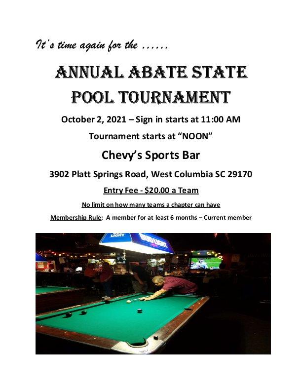 Annual ABATE of SC Pool Tournament
