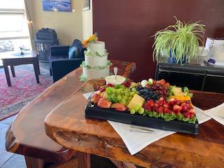 fresh fruits and a cake
