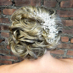 Blonde bridal up-do