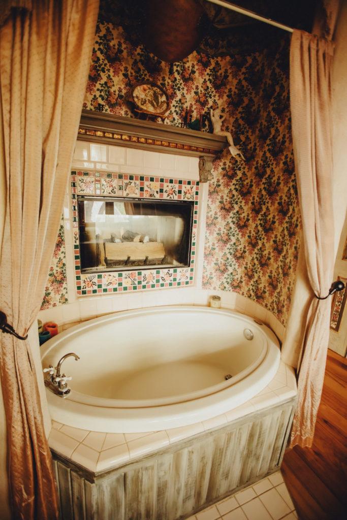 Bath with fireplace