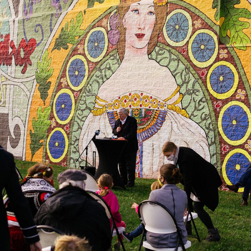 Mucha Meets Iowa Unveiled in Czech Village