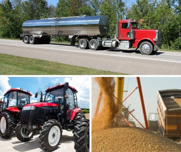 A triptych of images. A red and silver truck transports milk down the highway. Big red tractors sit on a lot for sale. A giant mound of grain.