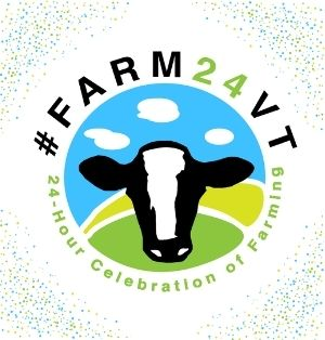 #Farm24VT logo. An iconic black-and-white holstein head on a blue and green background. On the holstein's snout is a patch of white fur in the shape of Vermont.