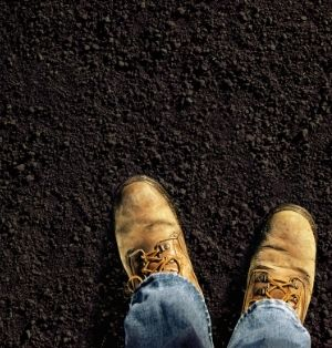 An image of work boots standing on dark soil.