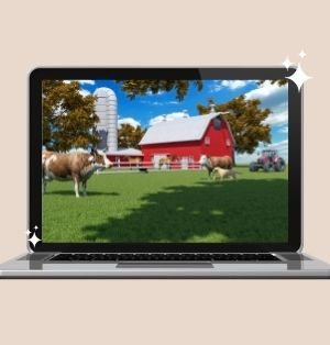 A silver laptop displaying a photo of a farm. The photo of a farm features a big, red barn; a silver silo; bright blue skies; and a cow standing on green grass.