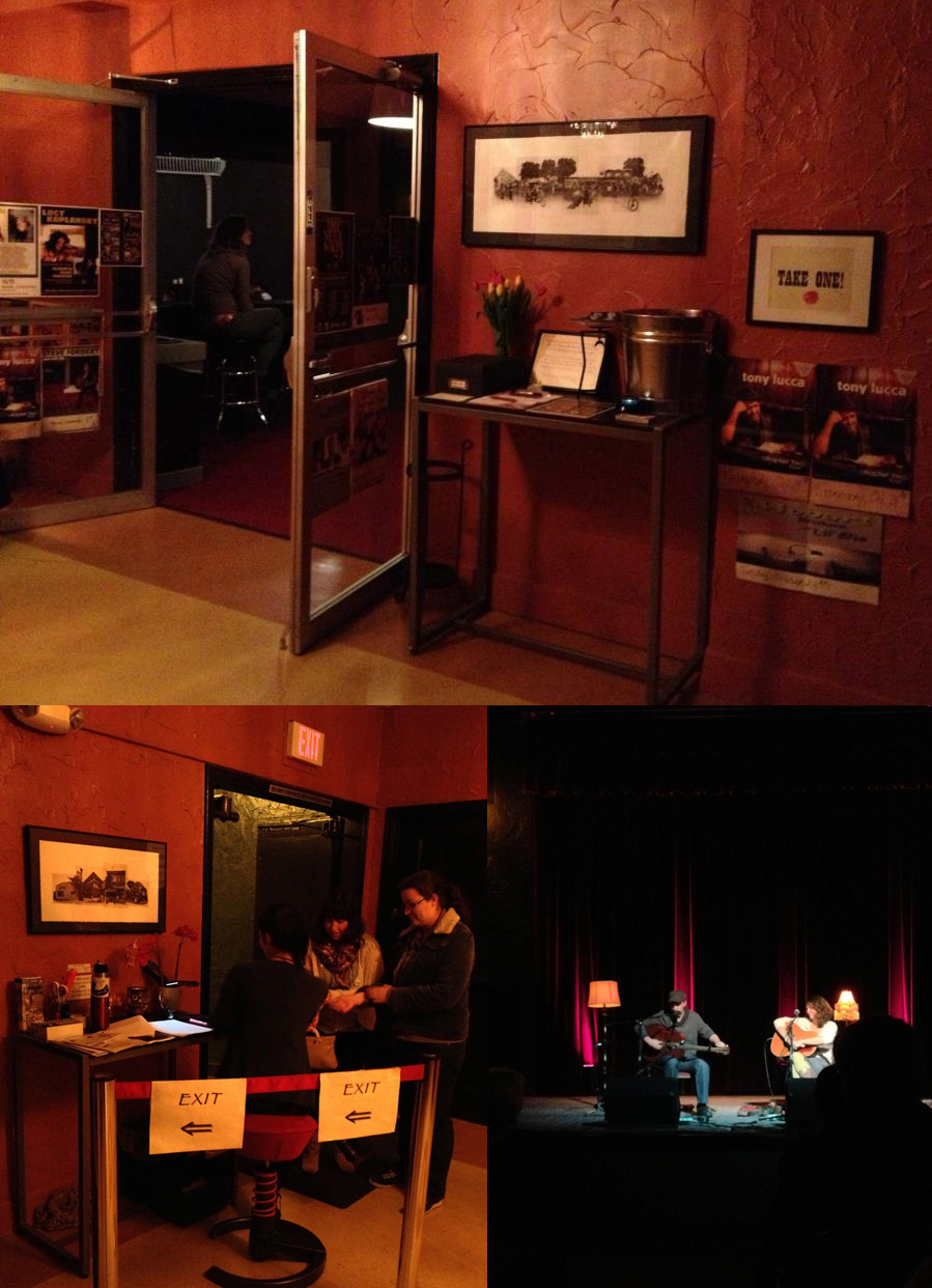 My artwork at the Alberta Rose Theater seeing Peter Mulvey and Kris Delmhorst
