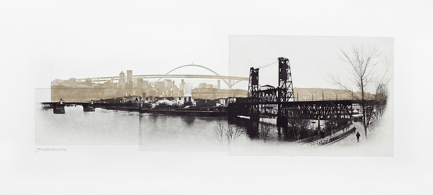 Photographic etching and relief print of Portland Skyline