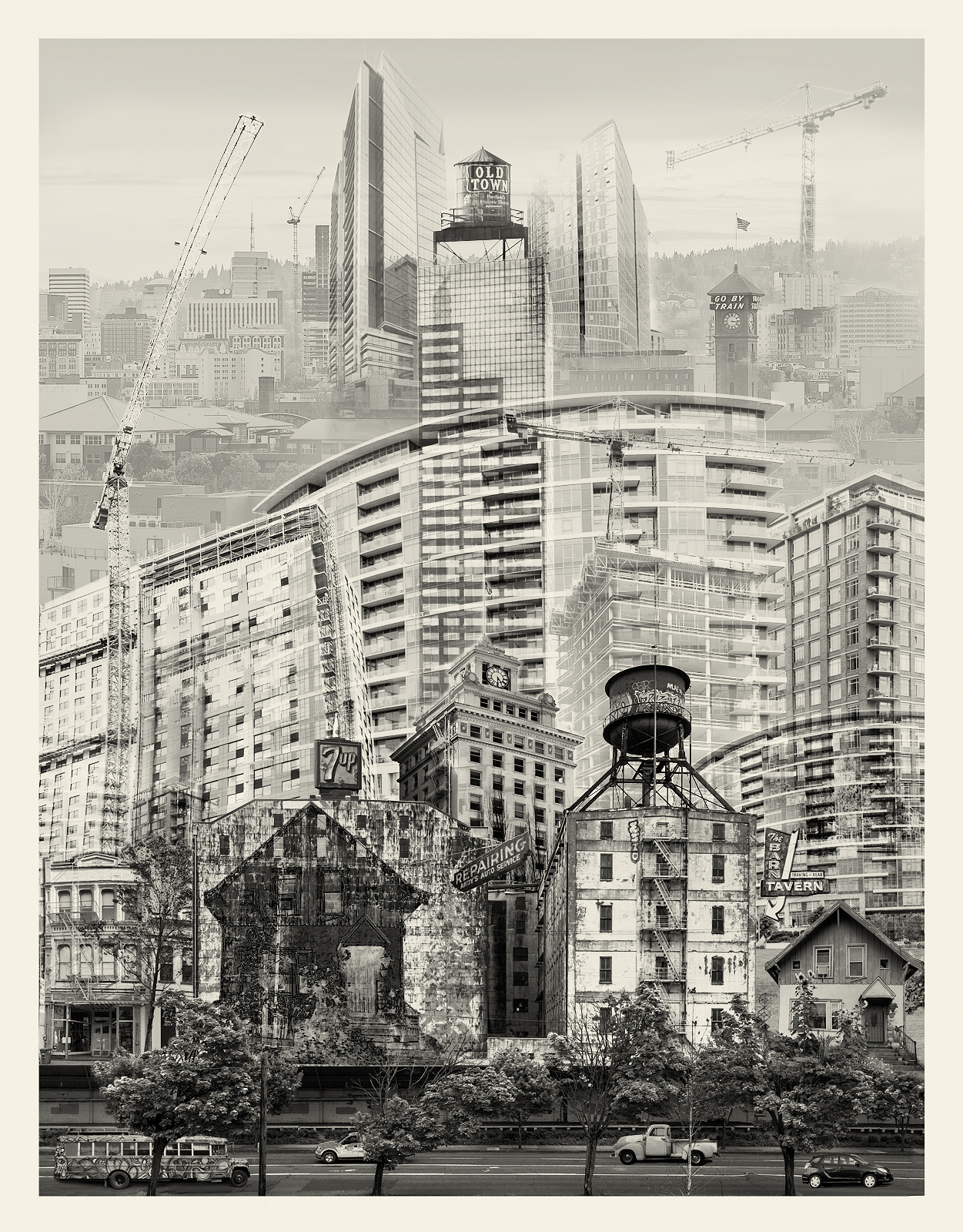 Photomontage of urban development and change in Portland Oregon. Trying to preserve the past despite over development.