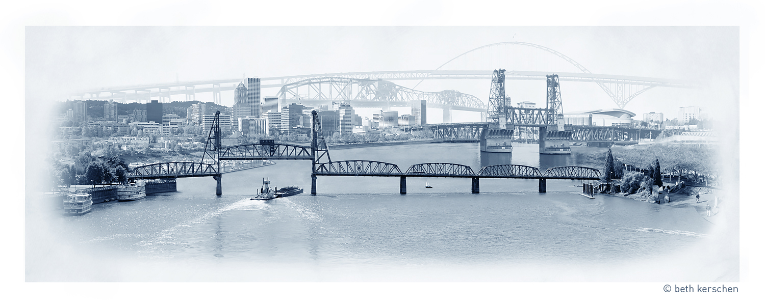 Skyline of Portland, Oregon - Bridges Crossing the Willamette River Artwork Photography - Photomontage by Beth Kerschen