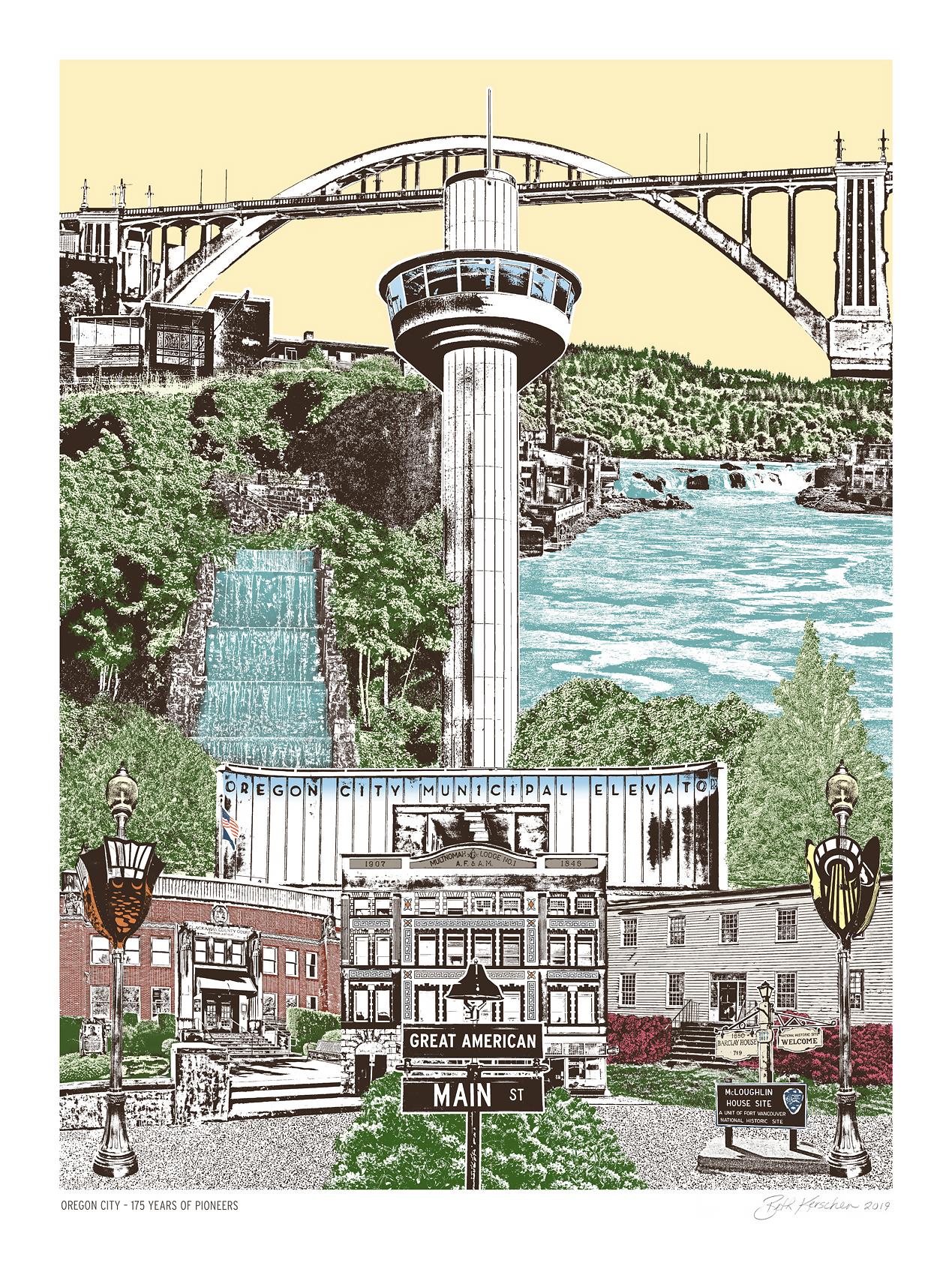 Historic Oregon City Art Print - 175th Anniversary