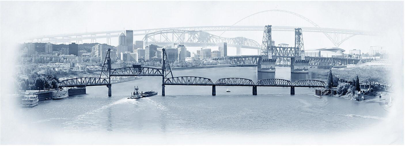 Skyline of Portland, Oregon - Bridges Crossing the Willamette River Artwork Photography - Photomontage by Beth Kerschen