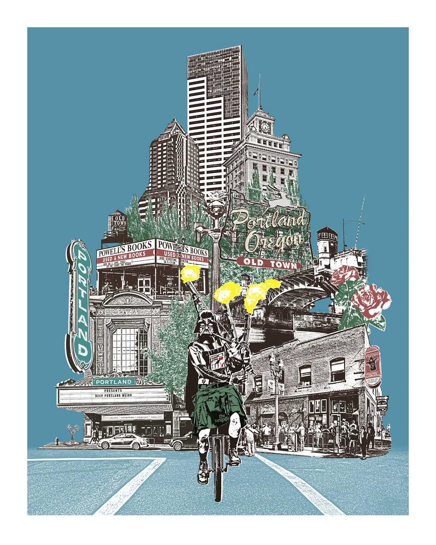 Unipiper Cycles Through Portland
