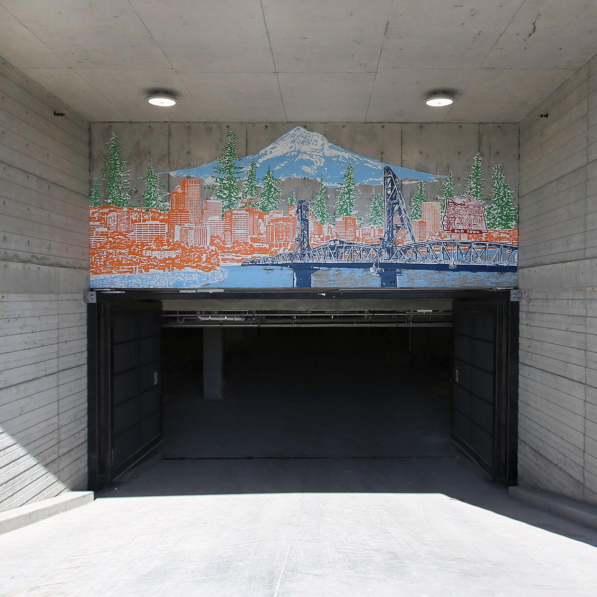 Beth Kerschen Cityscape Mural Cadence Apt Portland Oregon