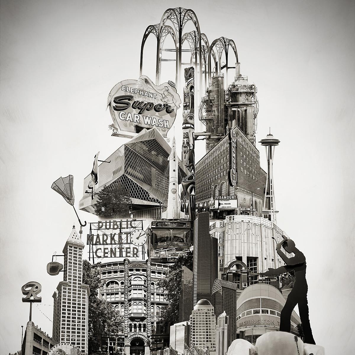 Beth Kerschen Tower of Seattle Art Photomontage