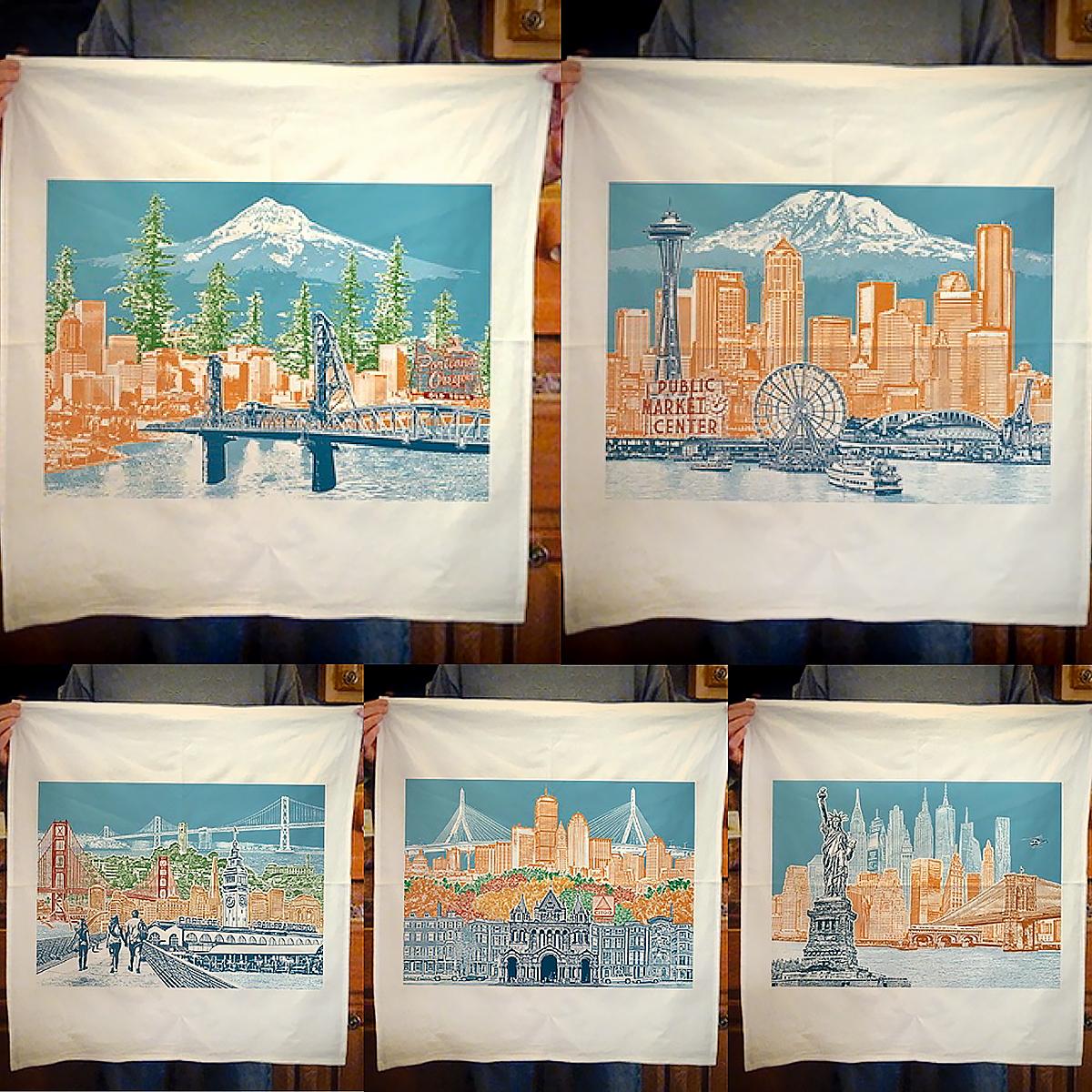 Cityscape Towels by Beth Kerschen