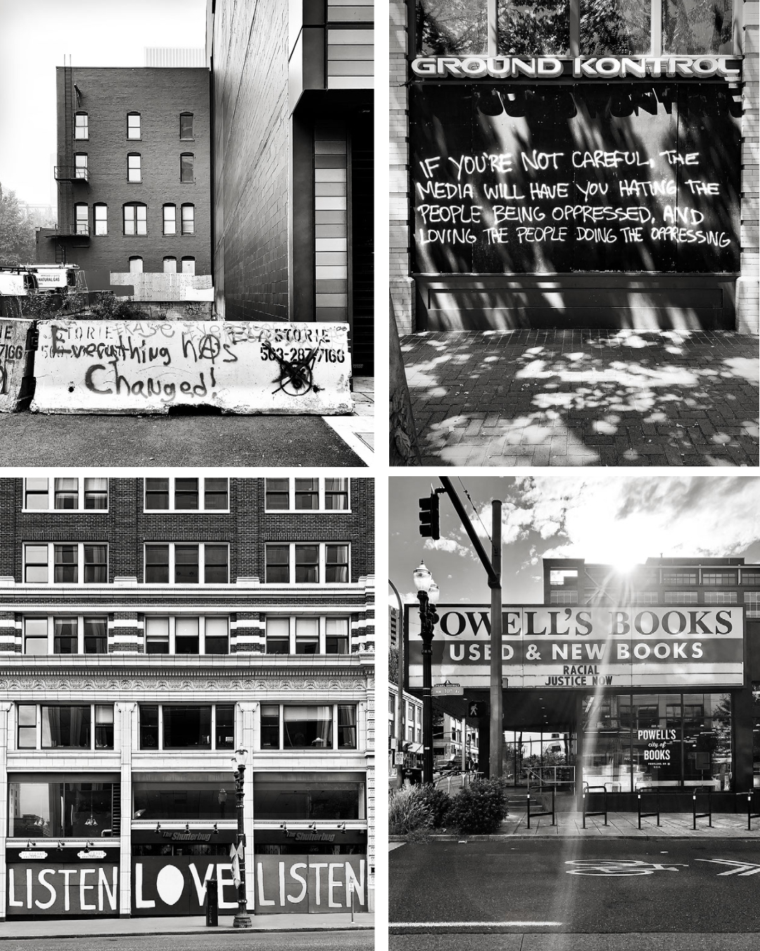 B&W Photography of signs and messages in Portland Oregon 2020