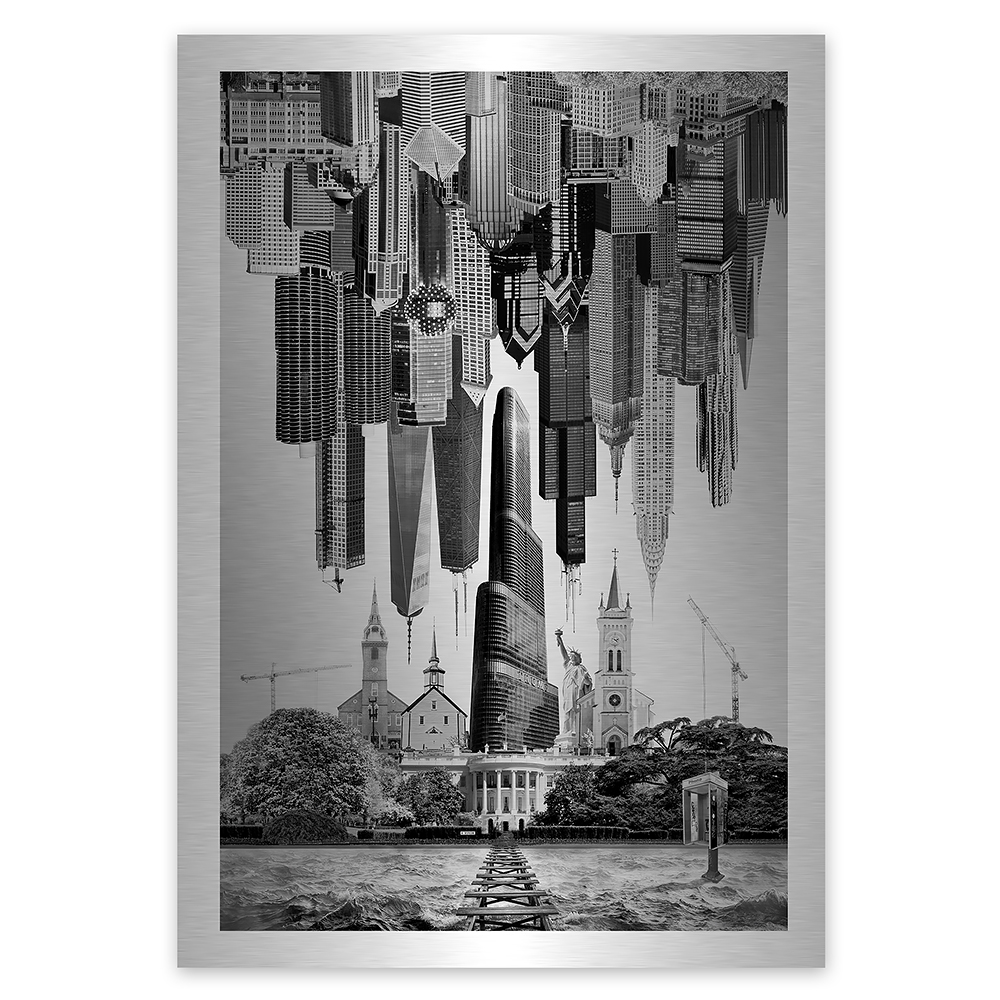 Photomontage of USA Upside down in crisis leaving people stranded
