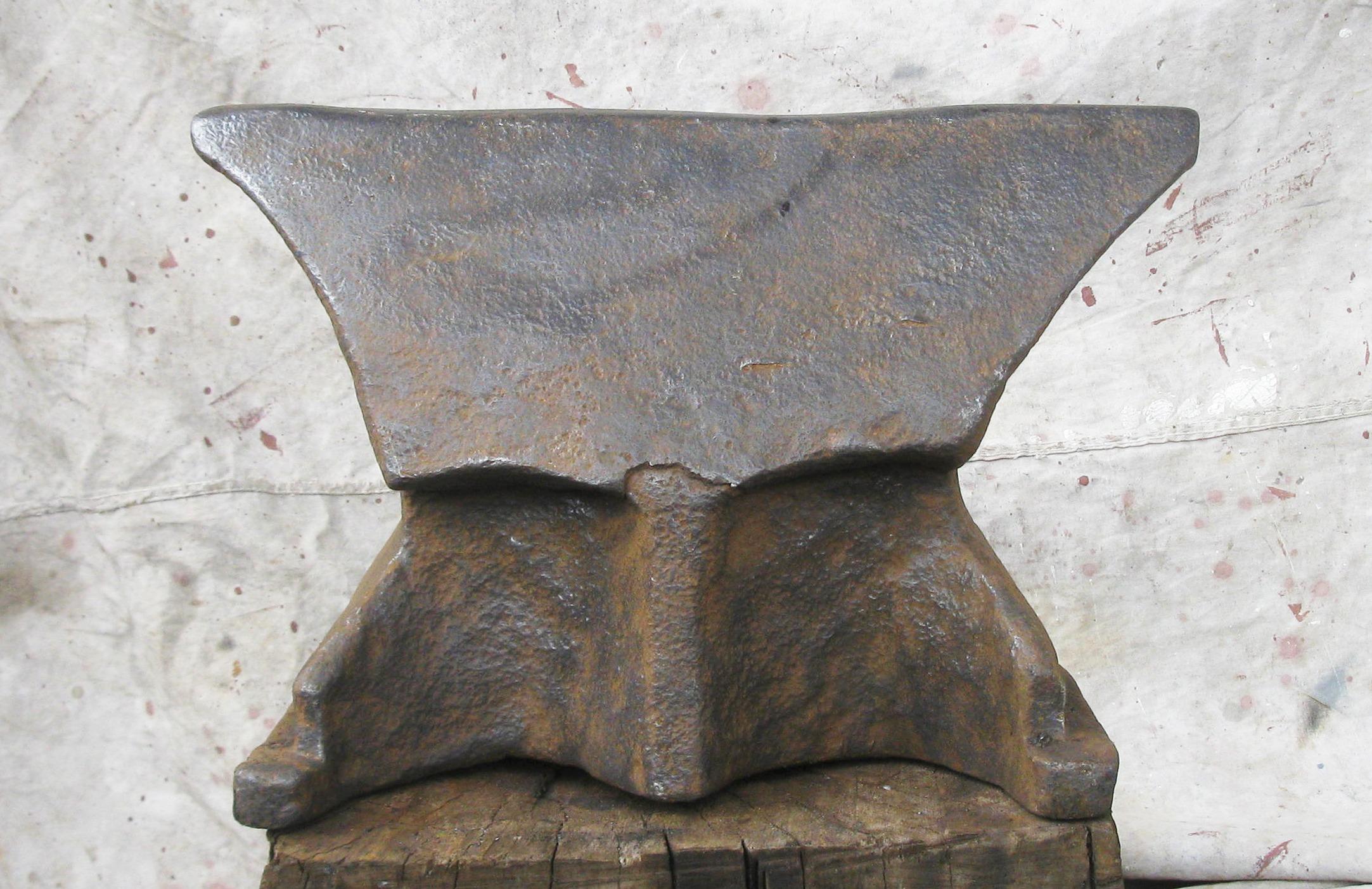 19th century Polish Church Windows anvil stepped base, blacksmith anvil for sale.