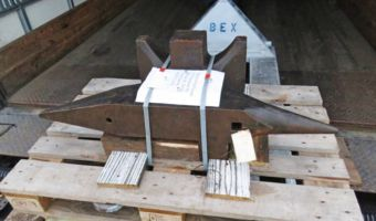 484 lb South German double horned anvil anchored on pallet