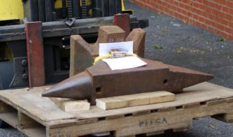 682 lb North German double horned anvil anchored on pallet