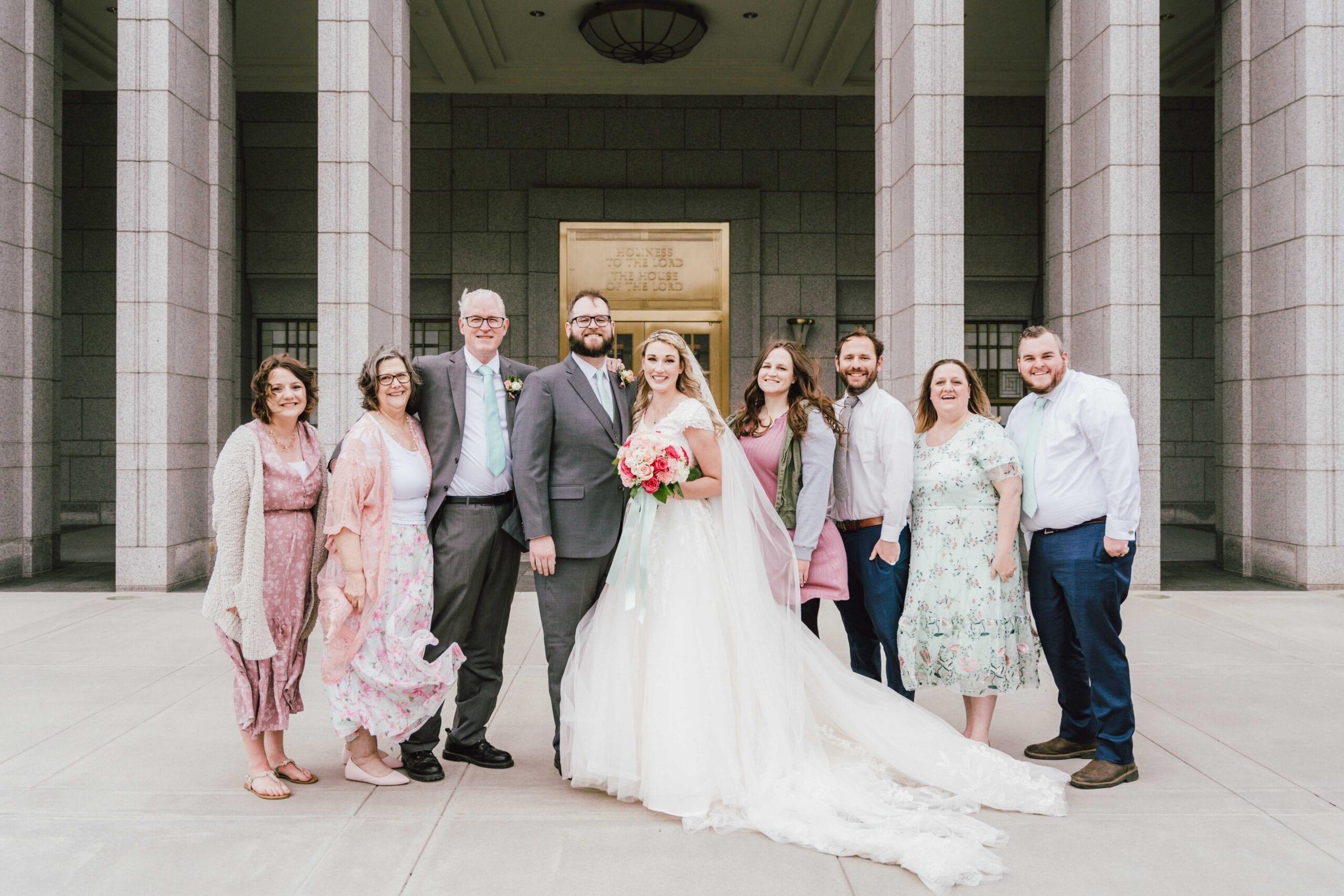 love brittny lds temple wedding draper bridal party