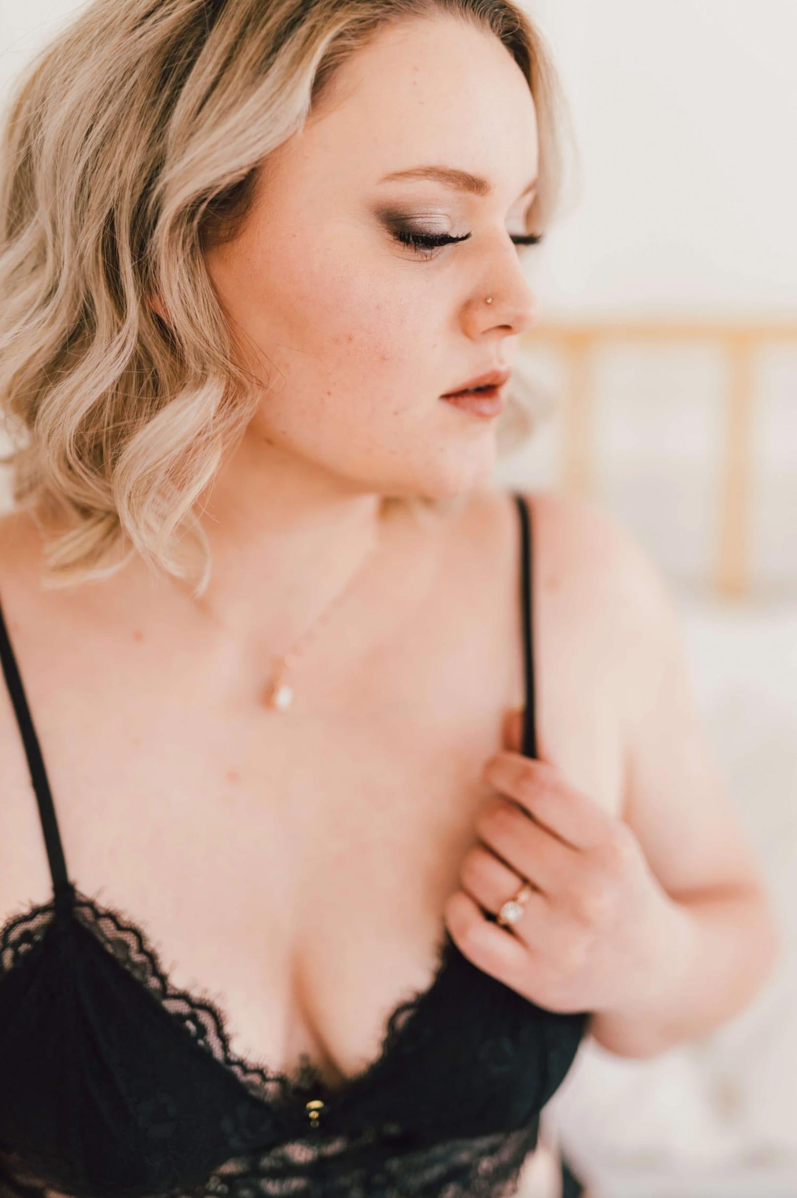 love brittny boudoir holding strap