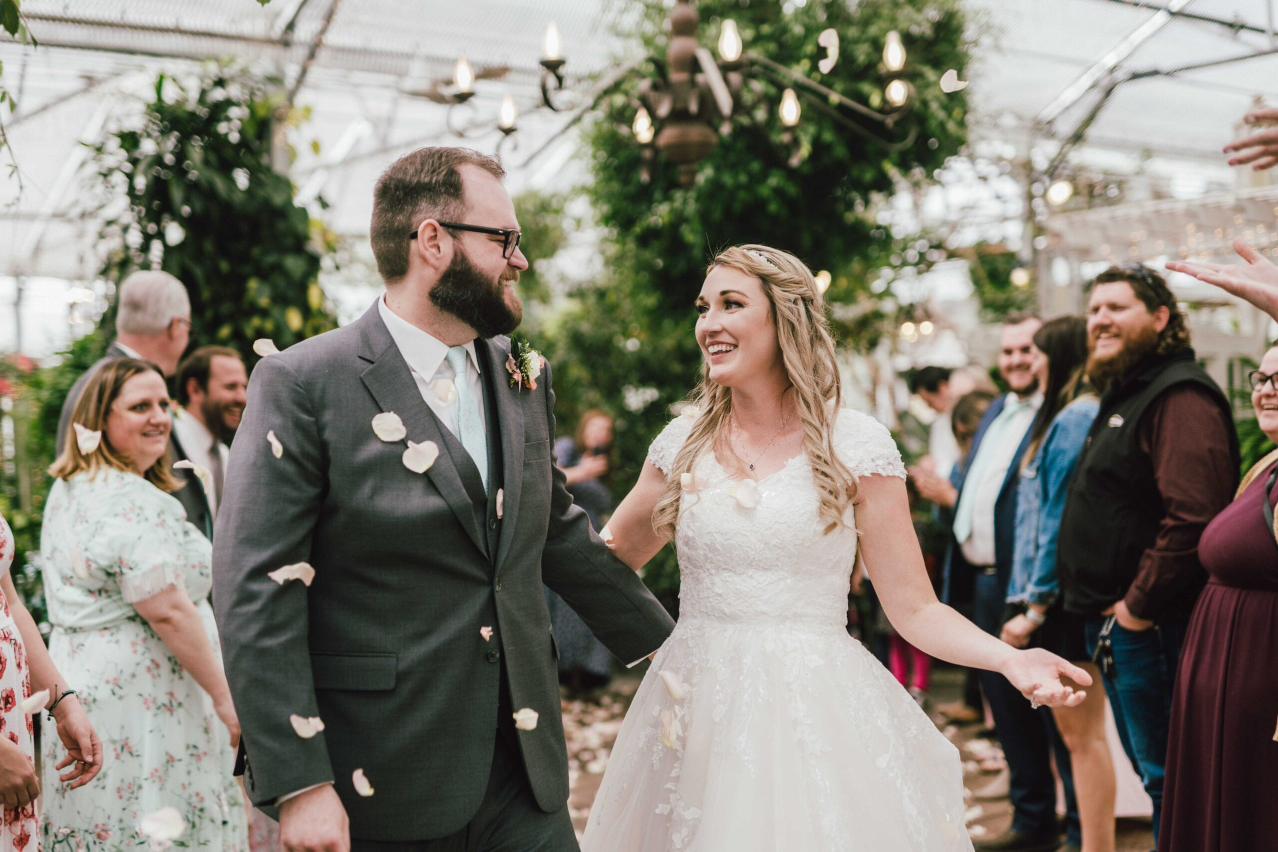 wedding reception with flower petals