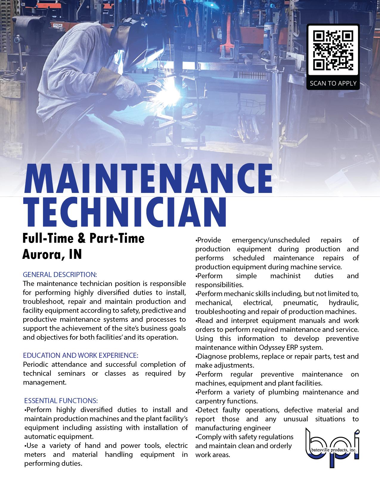 maintenance job description