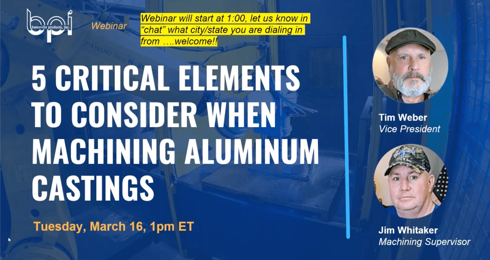 five critical elements for machining aluminum