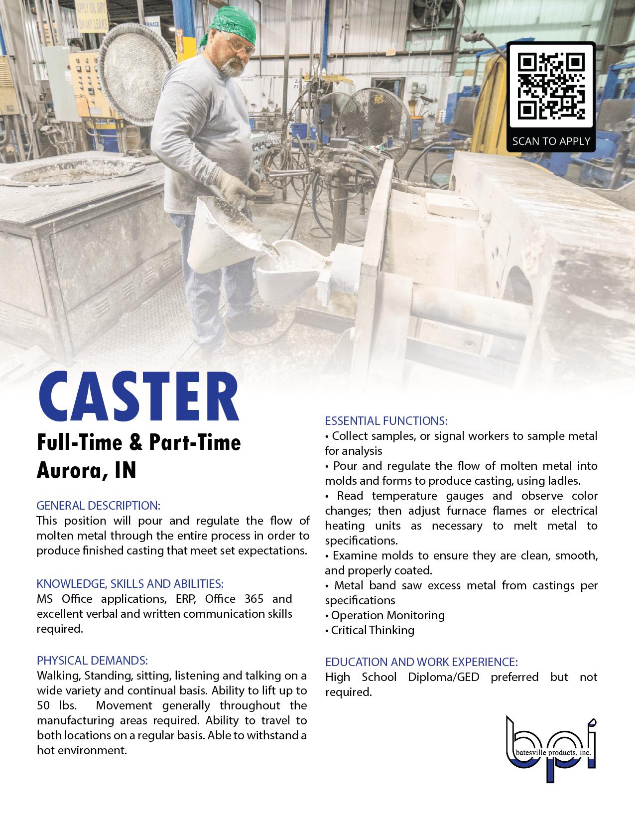 caster job description