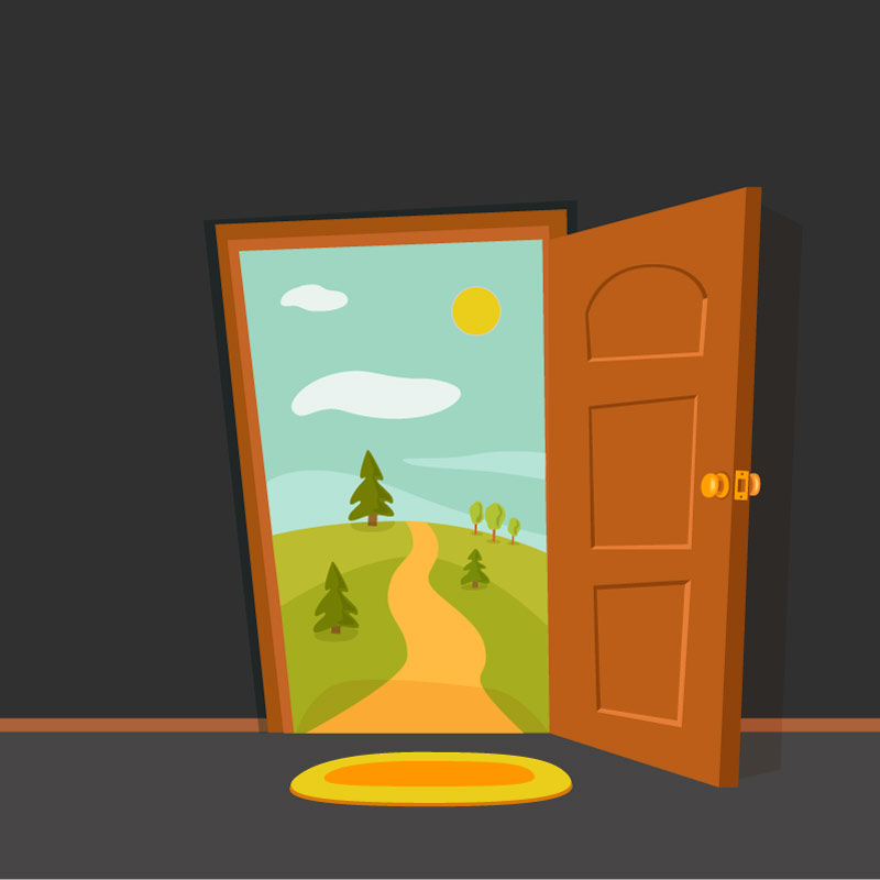 A door opening to accessibility for the anniversary of the ADA