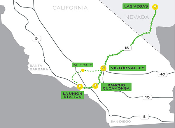 Map of route from Las Vegas to Los Angeles