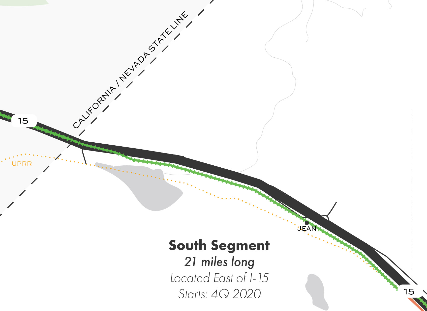 Map showing the Nevada South Segment of the proposed route.