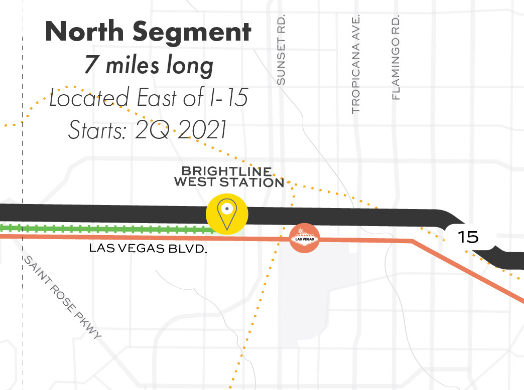 Map showing the Nevada North Segment of the proposed route.