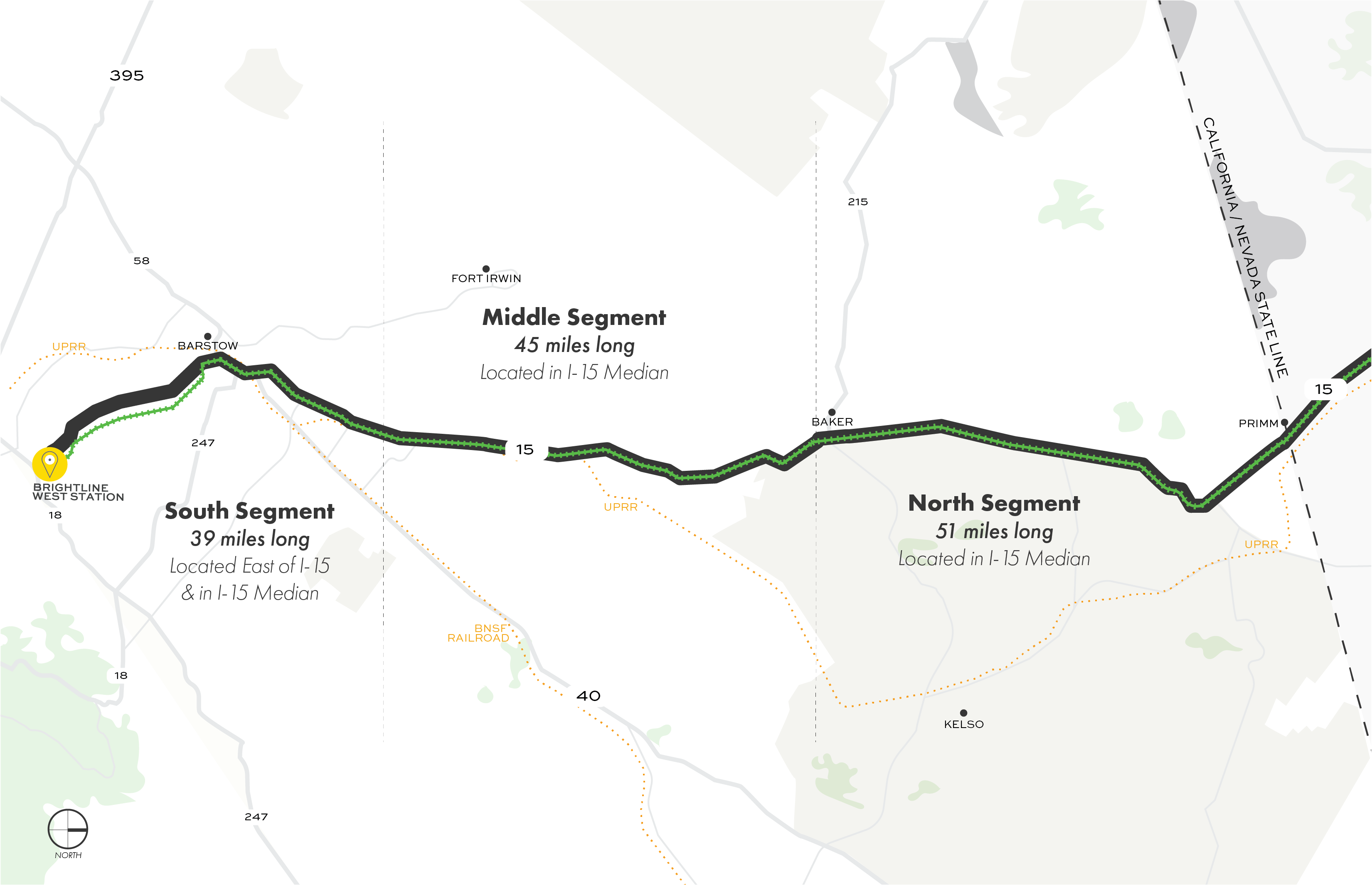 Map showing the three segments of the proposed route from the Victor Valley station to the Nevada state line.