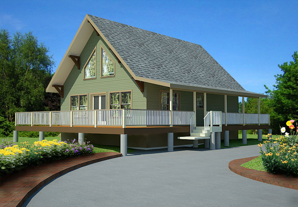 1007 sq ft Cabin Style Home – Open Concept Design