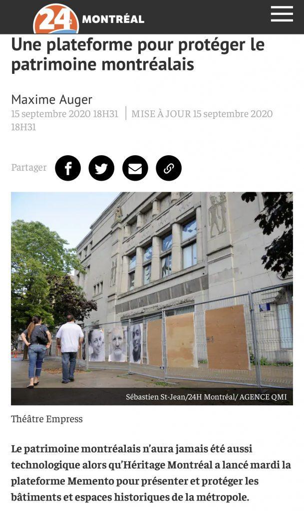 Retombée d'Héritage Montréal dans les médias