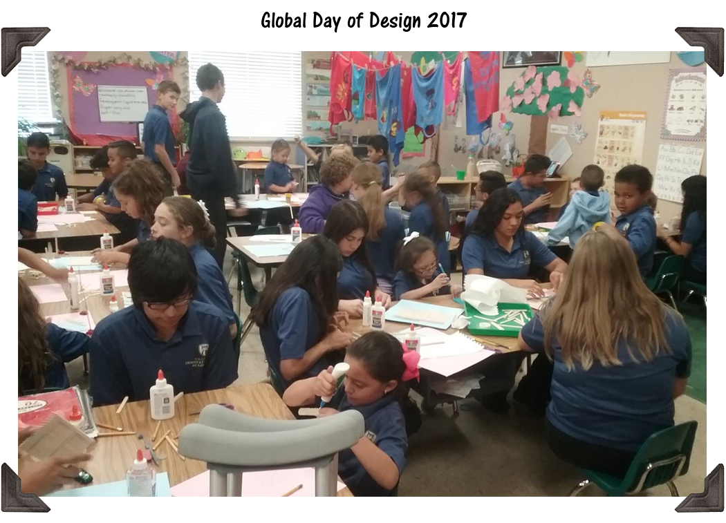 Photo of Global Day of Design 2017 classroom activities.