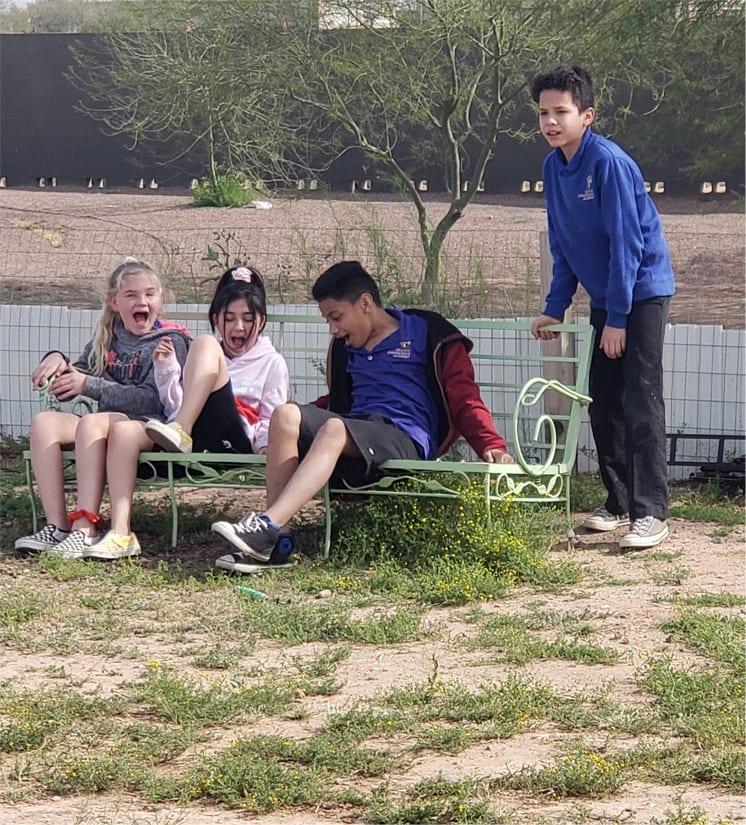 GIA kids in the garden.