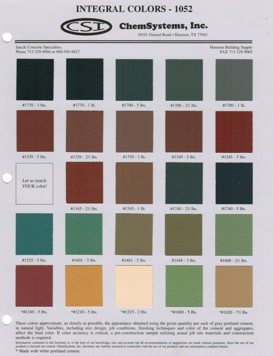Integral Color Chart for Concrete