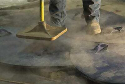 Cement Colors Stamping concrete stamps with a tamper