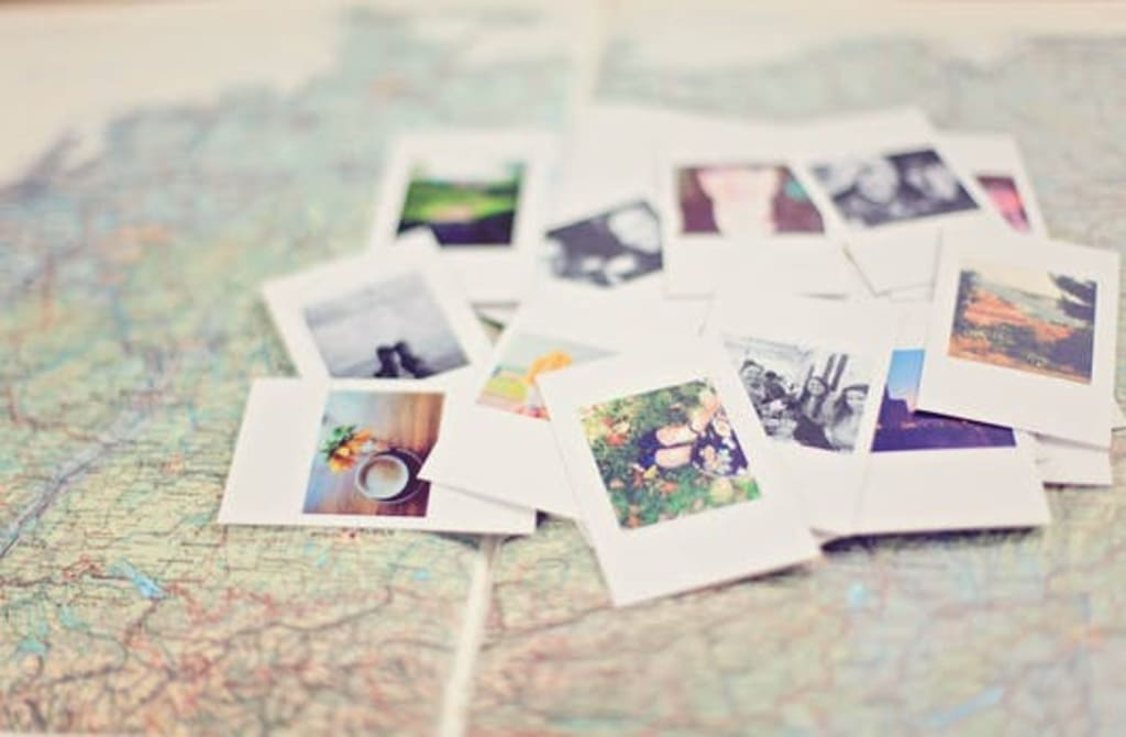 map with polaroids