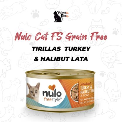NULO CAT FS GRAIN FREE SHREDDED-TIRILLAS TURKEY & HALIBUT LATA 3 OZ - 85 GR
