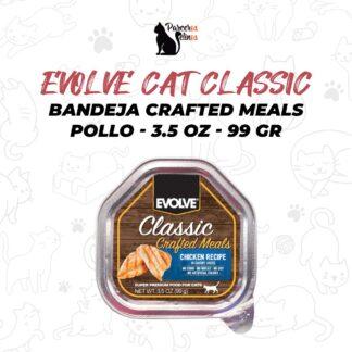 EVOLVE CAT CLASSIC BANDEJA CRAFTED MEALS POLLO - 3.5 OZ - 99 GR