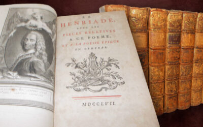 """1757 Voltaire """"Oeuvres Works"""" Full Leather Binding (Sold for $240)"""