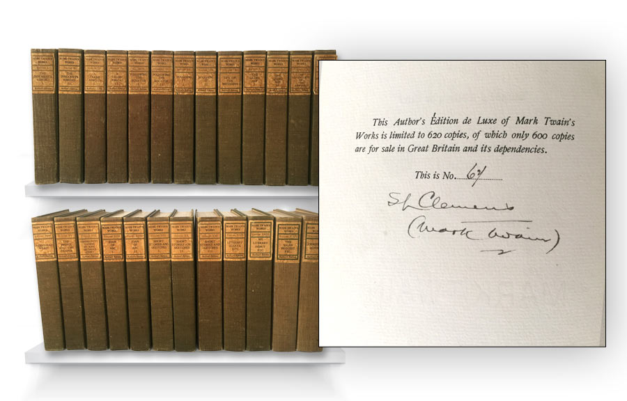1899 Writings of Mark Twain Author's Edition Set, Signed Samuel Clemens (Sold for $4,161)