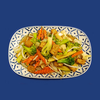 Deep fried tofu, stir-fried with mixed vegetables with light tasting garlic sauce.