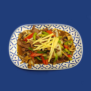 Chicken, pork or beef with fresh ginger, mushrooms